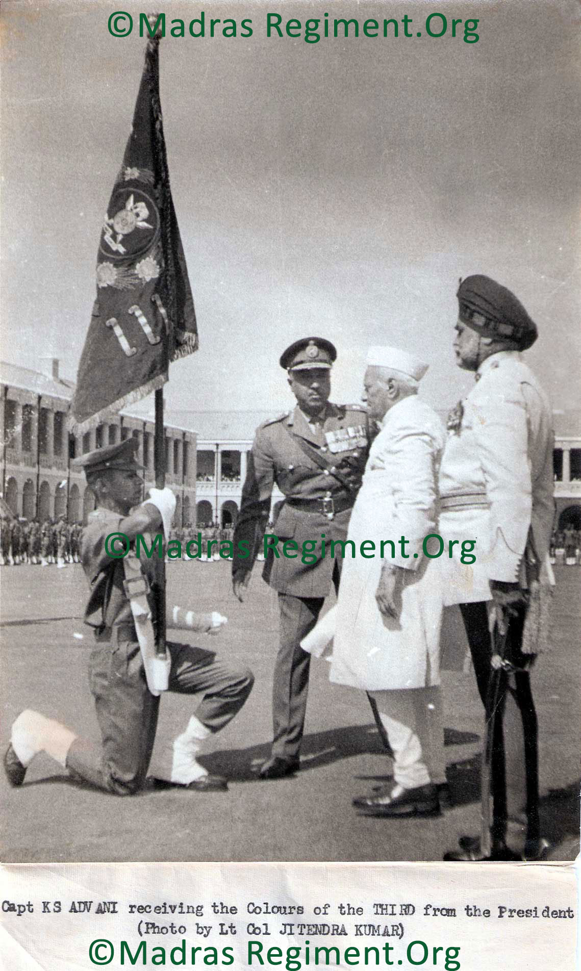 Capt K. S. Advani receiving the Colours of the THIRD from the President (Photo by Lt. Col. JITENDRA KUMAR)